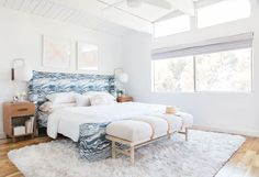 A lot of you remember the '1 bed, 4 ways' post and commented on the bed. Well, that was a DIY'd bed that we made for the Redbook column. And here's the DIY for all of you who are looking to recreate it. I actually loved how it turned out – super simple and modern... Read More … Modern Master Bedroom, Modern Bedroom Decor, Stylish Bedroom, Master Bedroom Design, Minimalist Bedroom, Master Bedrooms, White Bedroom, Blue Bedrooms, Modern Bedrooms