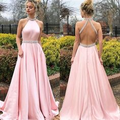 Pink A-Line Satin Prom Dresses, Beaded Backless Vintage Prom Dresses, Prom Dresses Long Pink, Halter Maxi Dresses, Beach Wear Dresses, Sexy Dresses, Formal Dresses, Pastel Prom Dress, Party Dresses, Dress Prom, Prom Gowns