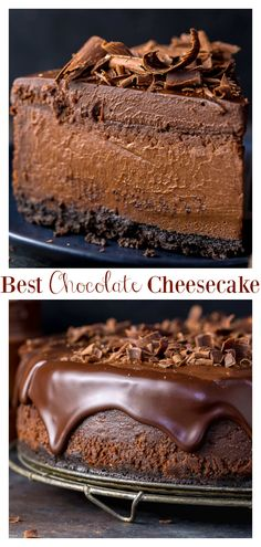 This Ultimate Chocolate Cheesecake features a chocolate cookie crust, creamy chocolate cheesecake filling, chocolate ganache, and shaved chocolate! Made with basic ingredients you probably have in you Just Desserts, Delicious Desserts, Dessert Recipes, Yummy Food, Health Desserts, Cupcake Recipes, Recipes Dinner, Best Chocolate Cheesecake, Chocolate Recipes