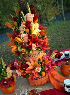 Multi-tier, autumn harvest centerpieces containing a variety of autumn color flowers designed by Something Floral/Something Spectacular for autumn, apple-themed, cider mill wedding in Michigan. Wedding Vendors, Wedding Blog, Fall Wedding, Wedding Ideas, October Wedding, Wedding Table, Rustic Wedding, Wedding Happy, Church Wedding