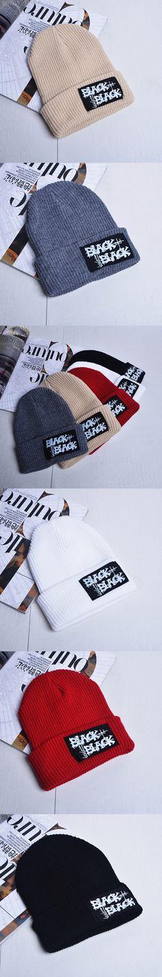 2017 Patch BLACK knit Hat For Women Girls Men Boys Skullies Bonnet winter cap ski warm Knitted  hats Female Male  Beanie Caps