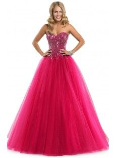 The charming princess A-line strapless sweetheart neck fuchsia tulle floor-length bridesmaid dress wih the crystal and sequin bodice and the sexy lace up back the puff skirt