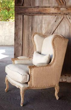 Shabby Chic Burlap & Linen Wingback Chair (Home Decor). Shipping is included in price. All sales final on furniture. Not Returnable. Chair Makeover, Furniture Makeover, Furniture Removal, Furniture Refinishing, Refurbished Furniture, Furniture Storage, Repurposed Furniture, Diy Furniture, Modern Furniture