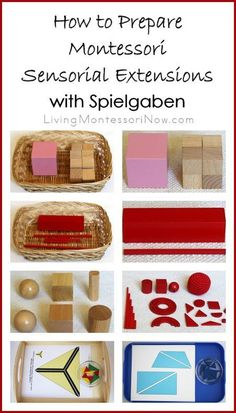 Spielgaben materials can be used to prepare lovely Montessori sensorial extensions for preschoolers ... perfect for homeschool or classroom; post contains the Montessori Monday linky collection.