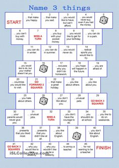 Board game - name 3 things