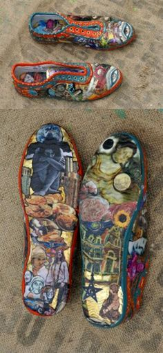 """Art Therapy shoes. (Linda Hill from HillArtistry.com) While suffering a major depressive episode, painting just didn't work, so I made """"Walk in my Shoes"""" to express how things were going. The insides are done, too."""