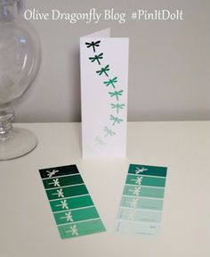 great idea for making cards. The Olive Dragonfly: Pin It Do It Challenge - Ombre Dragonfly Art Cards - Potential craft club project? Paint Chip Cards, Origami, Tarjetas Diy, Karten Diy, Chip Art, Dragonfly Art, Paint Swatches, Paint Swatch Art, Paint Samples