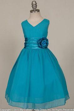 Turquoise Dresses For Girls | Aqua flower girl dress - Tropical beach aqua blue flower girl dress