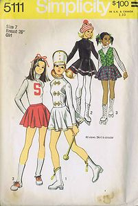 "VINTAGE MAJORETTE SKATING COSTUME SEWING PATTERN SIMPLICITY SIZE 7 BUST 26"" CUT 