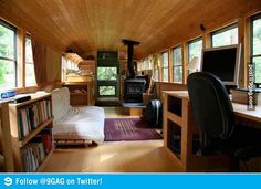 Old school bus turned into a tiny moving home