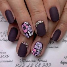 Autumn nails with a pattern, Beautiful nails 2016, Fall nail ideas, flower nail art, Ideas of winter nails, Matte nails, Multi-color nails, Nails trends 2016
