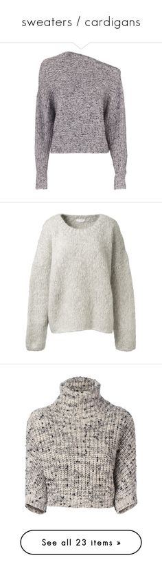 """""""sweaters / cardigans"""" by earendil-xx ❤ liked on Polyvore featuring tops, sweaters, sweatshirt, grey, long sleeve crop sweater, crop top, grey sweater, cotton pullover, chunky knit sweater and grey top"""