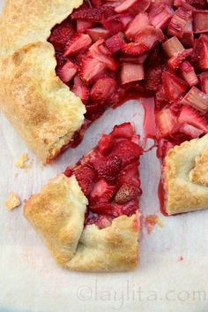 I love what our terracotta baking stone does to this crust! Rhubarb strawberry rustic tart
