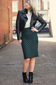 mint blouse, green pencil skirt, leather jacket- Love it!...might switch out the boots for some Doc Martins to match the leather jacket swag