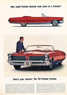 1965 Pontiac Bonneville convertible - Original Car Advertisement Print Ad J137