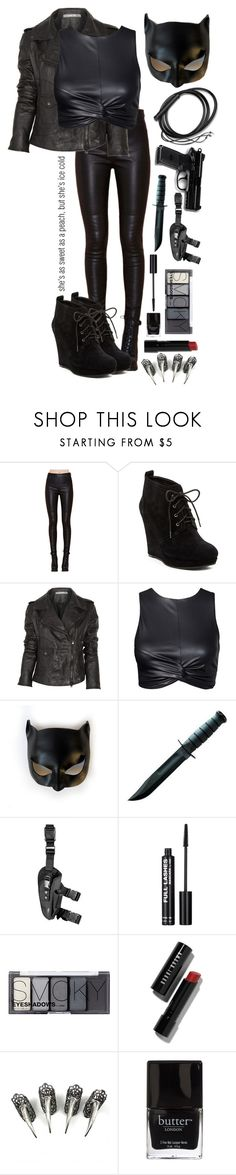 """""""Catwoman (meow)"""" by sea-sky-stars ❤ liked on Polyvore featuring Jessica Simpson, Lot78, Masquerade, Rogues Gallery, H&M, Bobbi Brown Cosmetics and Butter London"""
