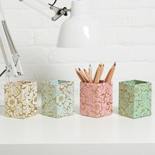 Practical pen pots are a perfect way to brighten up your desk or workspace and are great for use in a bedroom, study or kitchen. All our beautiful handmade stationery and storage products are produced in an eco-friendly way, from 100% recycled materials