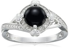 Sterling Silver Black Onyx and Diamond Ring, Size 7 -- Click image for more details. (This is an affiliate link and I receive a commission for the sales)