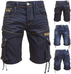 Mens Crosshatch Jeans Shorts Combat Cargo Denim Short Trousers Summer Shorts