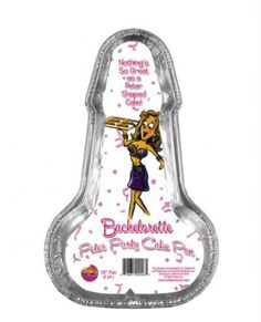 "Bachelorette Disposable Peter Party Cake Pan - Medium Pack of 2  $8.95  ""Nothing says loving like a penis-shaped cake hot from the oven. The Bachelorette Peter Party Cake Pan is perfect for any adult-oriented party or get-together. Package comes with two 10"" cake pans."""