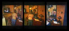 """Saatchi Online Artist: John Pacer; Oil, 2011, Painting """"Voyeur (Triptych)"""""""