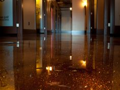 Epoxy floor with multicolour stain and sparkles - Prolific Concrete Designs Fort McMurray, Alberta