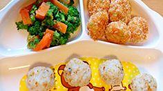 揚げないエビカツ。枝豆とチーズ入り♪ - 23件のもぐもぐ - エビポテトカツ/ブロッコリーサラダ/おにぎり by denpashock