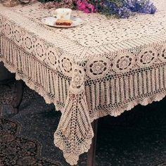 Handmade Crochet Lace Tablecloth.