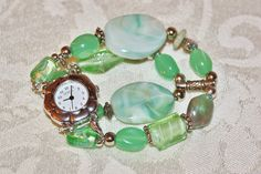 Interchangeable Watch with Beaded Band in Seafoam Green. $14.95, via Etsy.