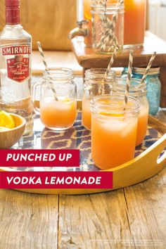 Throw your hands up & party with our Punched Up Vodka Lemonade for the 4th of July! 2.5 cups orange juice, 3 cups fruit punch, 1.5 cups pink lemonade, 1.5 cups pineapple juice, 15 oz Smirnoff No. 21 vodka, and fresh orange wedges. Stir ingredients together in large pitcher and serve over ice. (Serves 10)