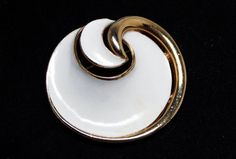 Crown Trifari White Enamel Brooch - Designer Signed Round Swirl Pin - White and Gold Tone Circle - Vintage 1960's 1970's Mod Era Design #bestofetsy #etsy #etsyseller #jewellery #etsymntt #etsyretwt #fashion #teamlove #vintage #jewelry