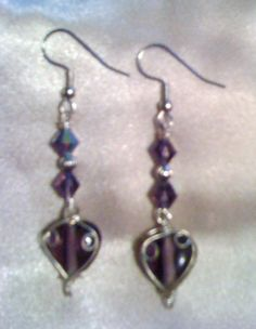 Purple glass beads & wire wrapped hearts