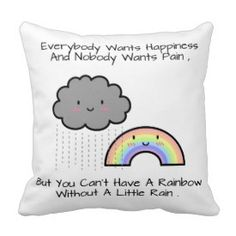 Cute Rainbow Rain Cloud Happiness Quote Room Decor Pillows