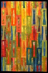 """""""Fiesta"""" Fiber Wall Art quilt created by Janet Steadman"""
