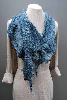 Außergewöhnliche Hand felted Leinen Schal von sassafrasdesignl