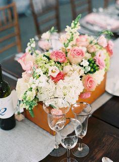 #Centerpiece | #RusticElegance | See the wedding on SMP -- http://www.StyleMePretty.com/little-black-book-blog/2014/01/23/preppy-chic-waterfront-backyard-wedding/ Adam Barnes Fine Art Photography