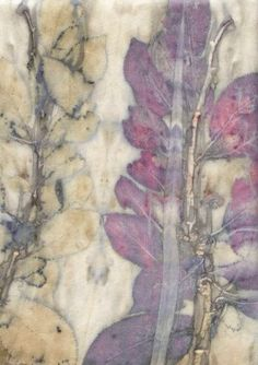 Prunus leaves on silk, an eco-print by Sandra Fisher. See more on RedBubble