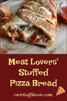Lovers' Pizza Bread is brimming with seasoned saucy ground beef, spicy pepperoni and three cheeses. A hearty appetizer, our Pizza Bread is a crowd-pleasing easy recipe to make. A perfect pizza recipe for game day, entertaining and the holidays! Meat Pizza Recipes, Beef Pizza, Meat Lovers Pizza, Cooking Recipes, Fun Easy Recipes, Easy Appetizer Recipes, Easy Meals, Perfect Pizza, Meat Appetizers