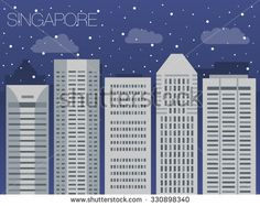 Snow-covered city before the holidays in Singapore - colorful flat style panorama of the metropolis - the appearance of the big city for the background of games