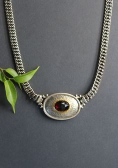Pendant Necklace, Chain, Jewelry, Necklaces, Rhinestones, Dirndl, Neck Chain, Handmade, Red