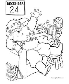 Santa and his elves Christmas coloring page!