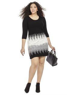 Monochrome Sweater Dress