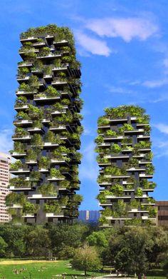 Bosco Verticale - Bewaldete Wolkenkratzer in Mailand - Architektur 04 - Skyscraper - Tower - Bigbuilding - Architecture Durable, Green Architecture, Futuristic Architecture, Sustainable Architecture, Residential Architecture, Sustainable Design, Amazing Architecture, Landscape Architecture, Architecture Design