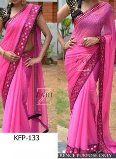 Buy Georgette Rani Pink Thread Work Replica Saree