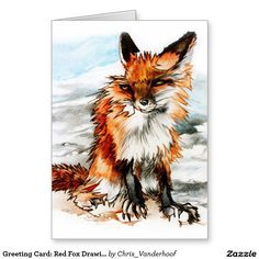 Greeting Card: Red Fox Drawing Greeting Card