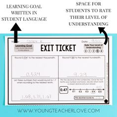 """How to Completely Transform Your Teaching with Exit Tickets This resource adjusts exit ticket assessments to include student reflective """"rate your understanding"""" and a space for the learning goal written in student language. Teaching Strategies, Teaching Tips, Teaching Math, Instructional Strategies, Formative Assessment Strategies, Differentiation Strategies, Teaching Geometry, Instructional Coaching, Instructional Technology"""