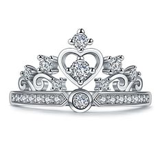 Princess Heart Crown Tiara Design Simulated Round Cut CZ Diamond Platinum Plated Ring