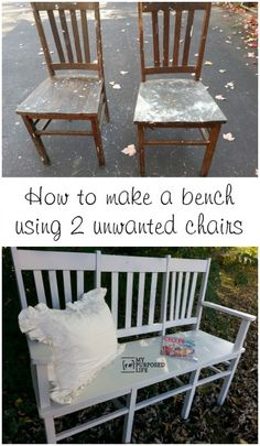 My Repurposed Life: How to make a triple chair bench out of 2 unwanted chairs. This tutorial will show you how to add a faux third chair. I'd do this in my living room with a cushion on the bench. Furniture Projects, Furniture Makeover, Diy Furniture, Furniture Design, Antique Furniture, Modern Furniture, Furniture Outlet, Furniture Stores, Chair Bench