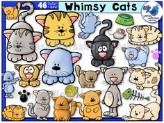 This set of whimsical cats will add fun to any project! Lots to choose from and a few extra cat items added. All graphics are high resolution with vibrant colors, and the B+W versions are included as always! $ Whimsy Workshop Teaching