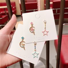Alloy Korea Geometric earring(Green star month) NHQG0507-Green-star-month Jewelry Design Earrings, Small Earrings, Cute Earrings, Cute Jewelry, Kawaii Accessories, Girls Accessories, Jewelry Accessories, Magical Jewelry, Accesorios Casual